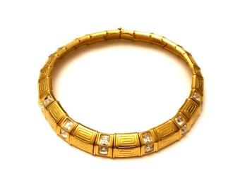 Swarovski Collar Necklace, Designer Signed Swarovski Gold Choker Necklace, Vintage Couture Jewelry, Glass Rhinestone Necklace Statement