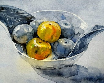 Still Life of Oranges : Original Watercolor Painting