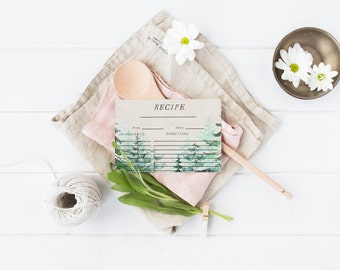 Floral Recipe Card Printable Kitchen Recipe Card Bridal Shower Recipe Card Flower Recipe Card Woodland Forest Recipe Wedding Shower Recipe