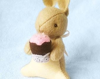 Brown Felt Bunny with Miniature Cupcake, Easter Bunny Rabbit Felt Doll, Felt Animal Soft Sculpture, Blythe Dolls Friend