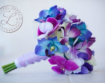 Blue Galaxy Orchid, Plumeria and Calla Lily Real Touch Bouquet in Blues, Purples and Violet