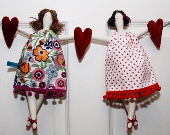 Tilda dolls and hearts garland - handmade