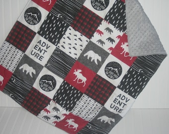 baby boy quilt-baby quilt-minky baby quilt-plaid baby quilt- bear baby quilt- arrow baby quilt- moose baby quilt- baby bedding