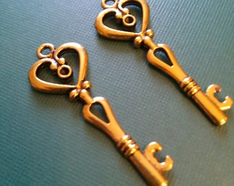 Heart Key Pendants-Wedding Keys-Antiqued Gold Skeleton Key Pendants-Bulk Skeleton Keys-75pcs