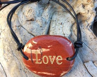 Jasper and Leather Bracelet, Love Bracelet