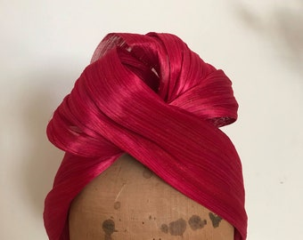 Fascinator - Raspberry Red Turban