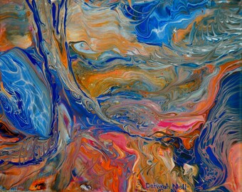 "Colorful Acrylic Pour, Fluid Landscape, Tree and River Art, Prophetic Pour, ""A River Runs Through It"""