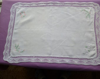 Linen Tray Cloth with a Knitted Lace Border