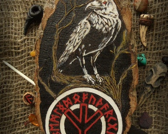 Raven Northern runes Pyrography Panels on the wall Decor for walls Unique gift For him Gift for men Gift for Viking Rustic style