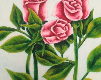 "Oil painting""Pink Roses"""