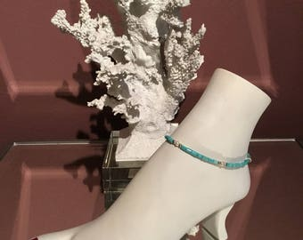 Turquoise & Pearl Anklet