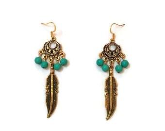 Gold Feather Earrings - Long Feather Earrings - Long Gold Earrings - Feather Dangle Earrings - Gold Dangle Earrings - Long Dangle Earrings