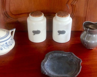 Ingredients jars / containers kitchen terracotta, French ceramic craft