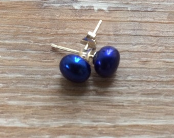 Royal Blue Pearl Studs 6-7mm coloured earrings sterling silver uk made