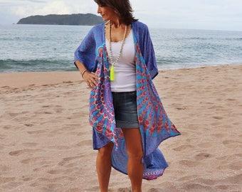 Mandala  Kimono robe - Turquoise and pink mandala Beach Kimono jacket / cardigan - with sequins Med - Large size