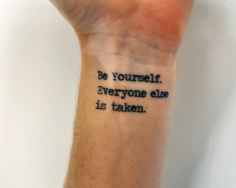 Individuality Quote Temporary Tattoo, Oscar Wilde Be Yourself Quote, Gift Idea, Quotation Temporary Tattoo, Indie Tattoo, Hipster Tattoo