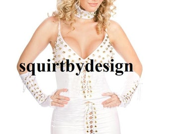 White two piece outfit studded detail lace up front comes with choker and gloves