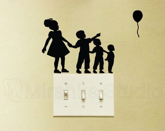 Big Sister and 3 Little Brothers Fabric Decal - Balloon Wall Decor - Kids Wall Sticker - Family Wall Art - Family Silhouette Decal