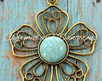 Gold Flower with Turquoise Detail pendant (P30)