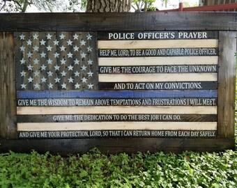 Framed Police Officer's Prayer Thin Blue Line Flag