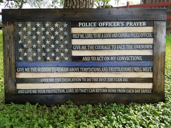 Framed Police Officer's Prayer Thin Blue Line Flag