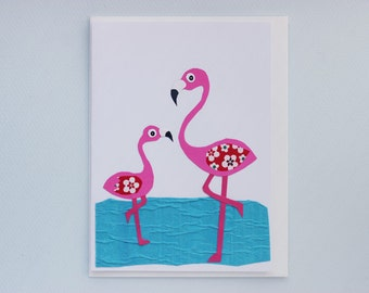 Flamingo baby - print card by Emily Lin