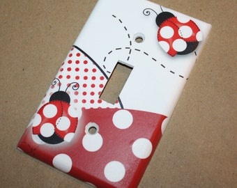 Red Mod Ladybugs Girls Bedroom Single Light Switch Cover LS0055