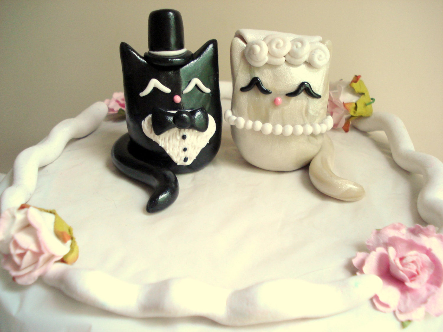cat wedding cake toppers cat wedding cake topper polymer clay kitty cake topper 2519