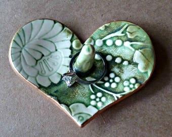 Ceramic Ring Holder Heart Bowl Moss Green Damask edged in gold