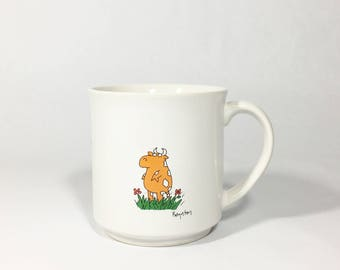 Vintage Sandra Boynton Outstanding in the Field Coffee Cup Mug Inspirational Cow Recycled Paper Products Made in Japan