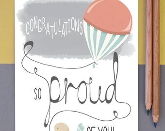 """Illustrated Greeting Card Congratulations So Proud Of You 7x5"""""""