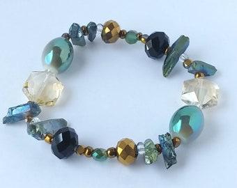 Ocean Green, Blue, Black, Gold, Beaded Bracelet, Jewelry for Her, Unique Bracelet for Women, Handmade Jewelry, Aydielle, Beaded Jewelry Gift