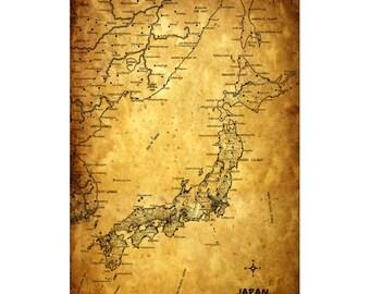 JAPAN Vintage Map 5G - Handmade Leather Journal / Sketchbook - Travel Art