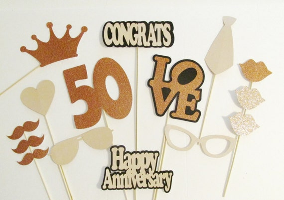 Photo booth props 50th anniversary party decor 15pc set lots junglespirit Image collections