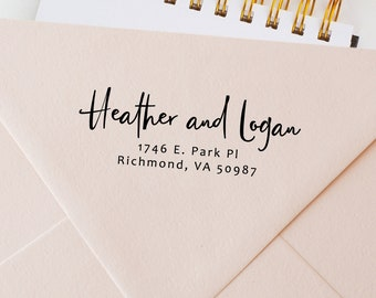 """Custom Rubber Stamp for Envelopes - Personalized Women's Gift - Self Inking or Wood Handle Mount, Black Ink - Size up to 2.5"""" Inches ( 407)"""