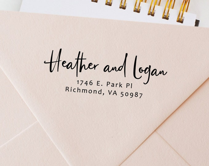 """Featured listing image: Custom Rubber Stamp for Envelopes - Personalized Women's Gift - Self Inking or Wood Handle Mount, Black Ink - Size up to 2.5"""" Inches ( 407)"""