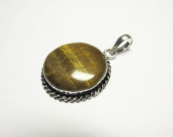 Tiger Eye Brass Pendant P # 23