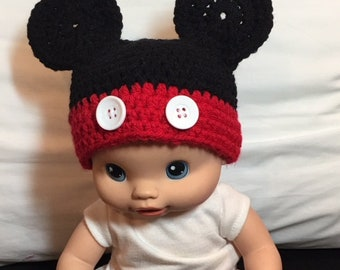 Mickey Mouse, Disney, Newborn, Crochet Hat