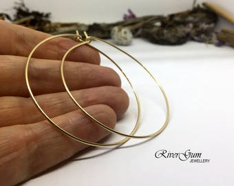 Gold Hoop Earrings, Hoop Earrings, 18 Gauge Gold Filled Hoop Earrings, Two Sizes, Gold Earrings, Large Hoop Earrings
