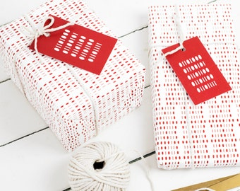Valentines BINARY WRAPPING PAPER Gift Wrap Set Red Tags Ribbon Computer Geek Nerd Science Big Bang Theory Anniversary Birthday Valentine Day