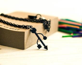 Usb Necklace,Geek Jewelry,Lasercut Acrylic
