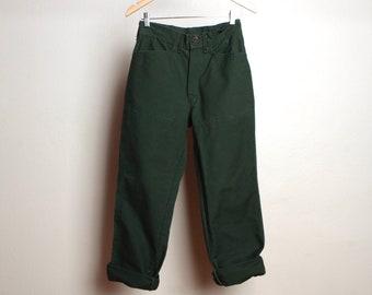pantalon à poche taille haute cintrée 27 pouces style militaire Vintage vert OLIVE