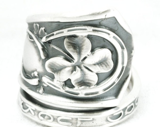 Good Luck Ring, Sterling Silver Spoon Ring, Shamrock Four Leaf Clover, Lucky 4 Leaf Clover Ring, Irish Jewelry, Adjustable Ring Size (7091)