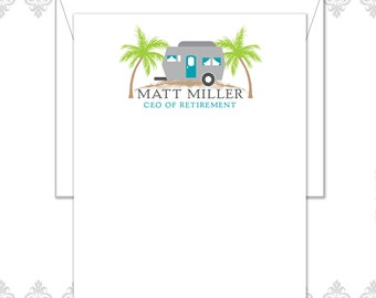 Camper Retirement Stationery Set of 10 with envelopes, Retirement cards, CEO of Retirement, Palm Trees, retirement gift, camper on beach