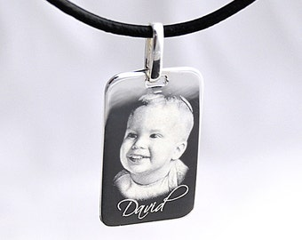 Personalised Sterling Silver Pendant, Photo Engraved Rectangle Dog Tag with Necklace