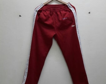 Fila Wine Red sweatpants jogger pants track White Red Side Tape Large Size