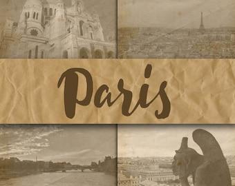Paris Digital Papers - Photographs of Paris - Paris France Digital Backgrounds - 12 Designs - 12in x 12in - Commercial Use