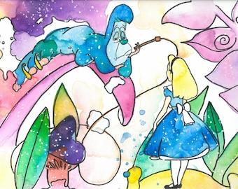 Alice in Wonderland Original Painted Print