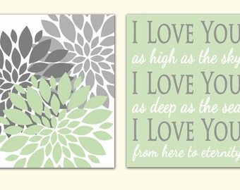 I Love You as High as the Sky, as Deep as the Sea from Here to Eternity Mint Green Gray Wall Art Flower Bursts Room Decor 11x14 Prints 163-a