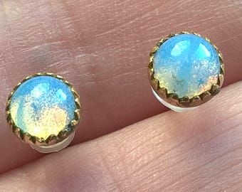Antique Edwardian Opaline Glass Very Small Miniature Gold Plated Stud Earrings